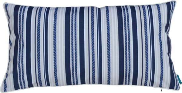 Housse coussin outdoor Blue Line / Bleu Marine, passepoil Vanille